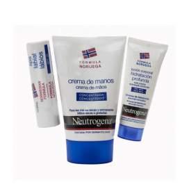 Neutrogena Crema de Manos Concentrada + Locion Corporal + Neutrogena Labios SPF 20 Kit