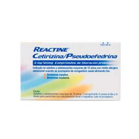 Reactine Cetirizina/Pseudoefedrina 5/120 Mg 14 Comprimidos Liberacion Prolongada