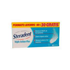 Steradent Triple Accion Plus Limpieza Protesis Dental 90 Comp