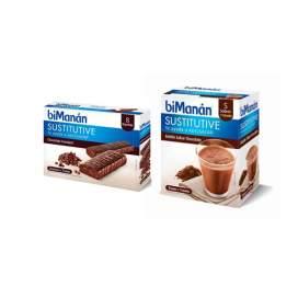 Bimanan Pack Batido Choco 5 Sobres + Barritas Sustitutive Chocolate Fondant 8U