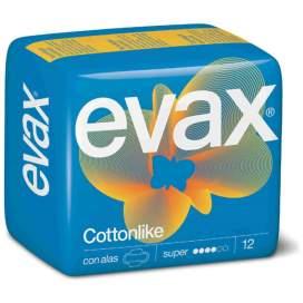 Evax Compresas Cottonlike Super con Alas 12U