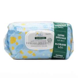 Klorane Baby Gentle Cleansing Wipes 2x70
