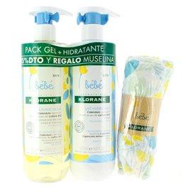 Klorane Bebe Gel 500Ml + Hidratante 500Ml + Muselina